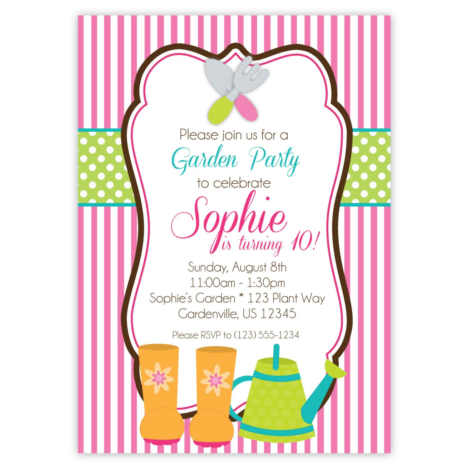 Garden invitation pink stripes lime polka dots garden for Dots and stripes party theme