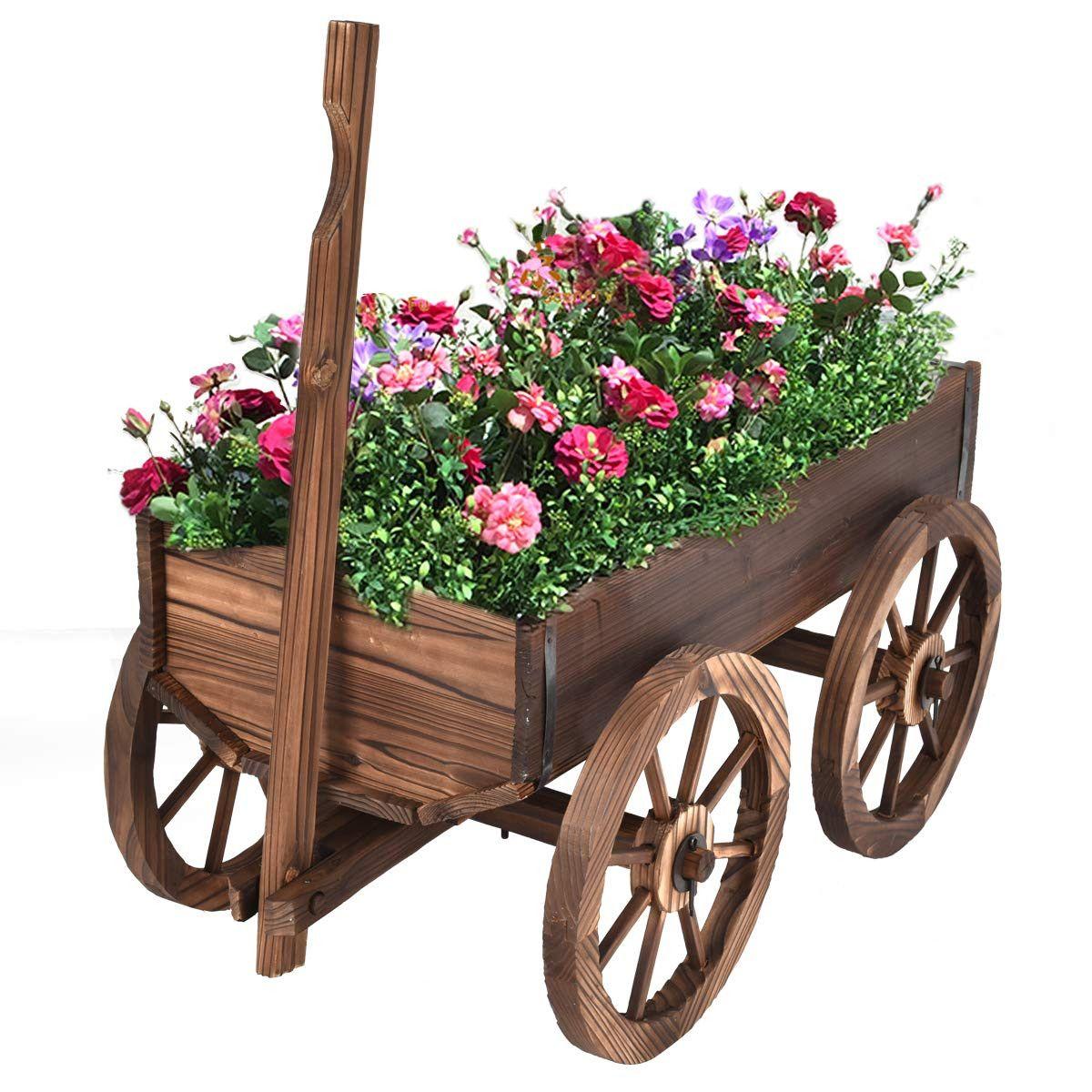 Giantex wood wagon planter pot wwheels home garden