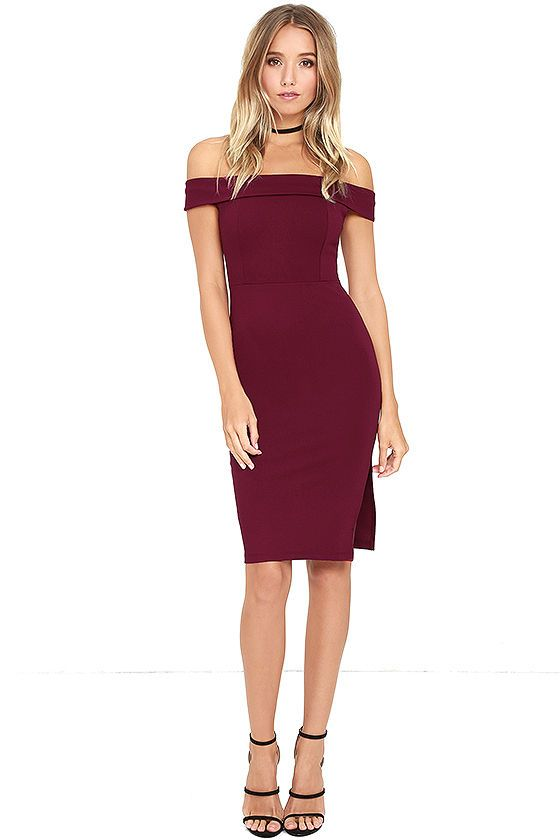 1aae372f5090 Don t be surprised if you catch somebody s eye in the Foxy Lady Burgundy Off -the-Shoulder Bodycon Dress! Medium-weight stretch knit shapes this sexy ...