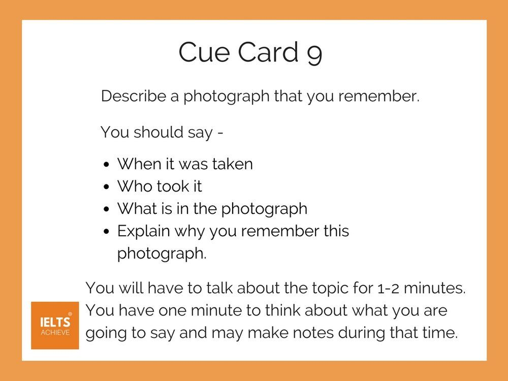 IELTS Cue Card 9 - Describe A Photograph That You Remember
