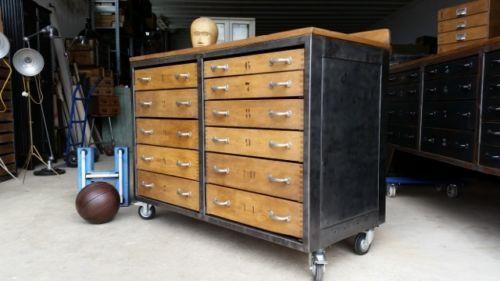 alter loft industrie design schubladenschrank werkbank anrichte kommode 1950 furniture pinterest. Black Bedroom Furniture Sets. Home Design Ideas