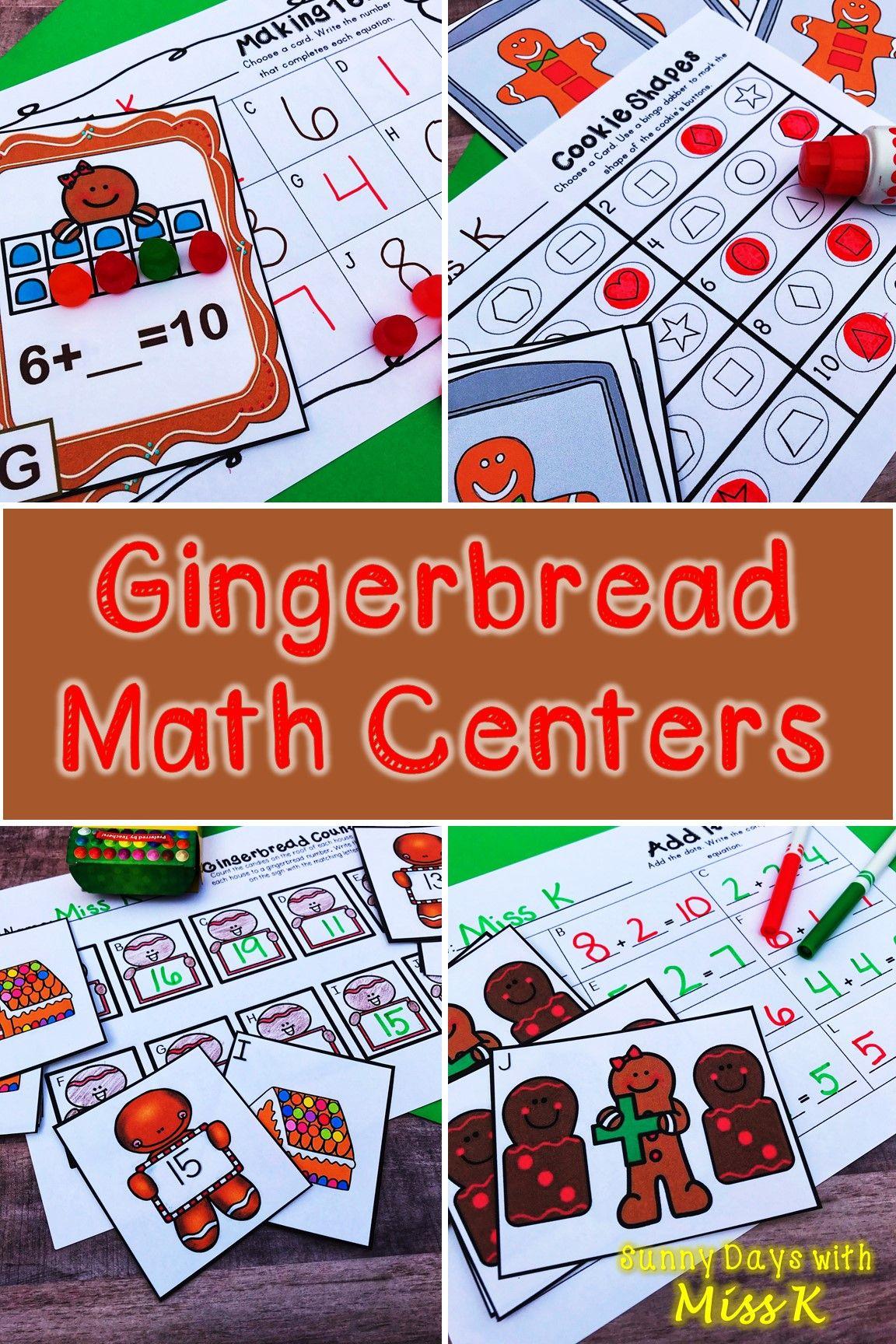 Kindergarten Gingerbread Math Centers 8 December Math