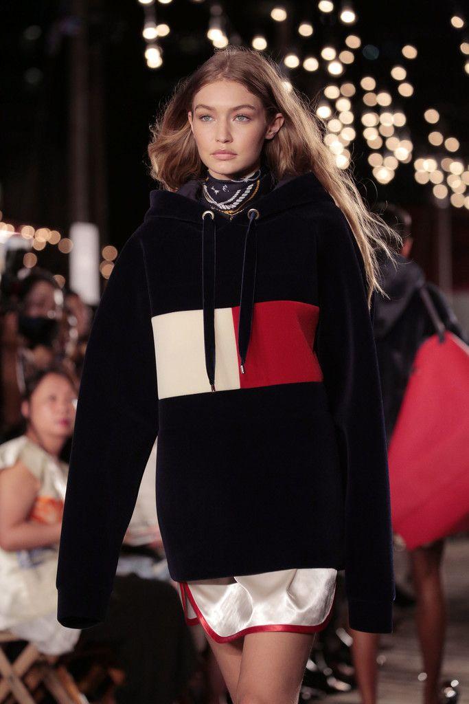TOMMY X GIGI fashion show - Gigi Hadid oversized sweatshirt and slip dress 52749288f