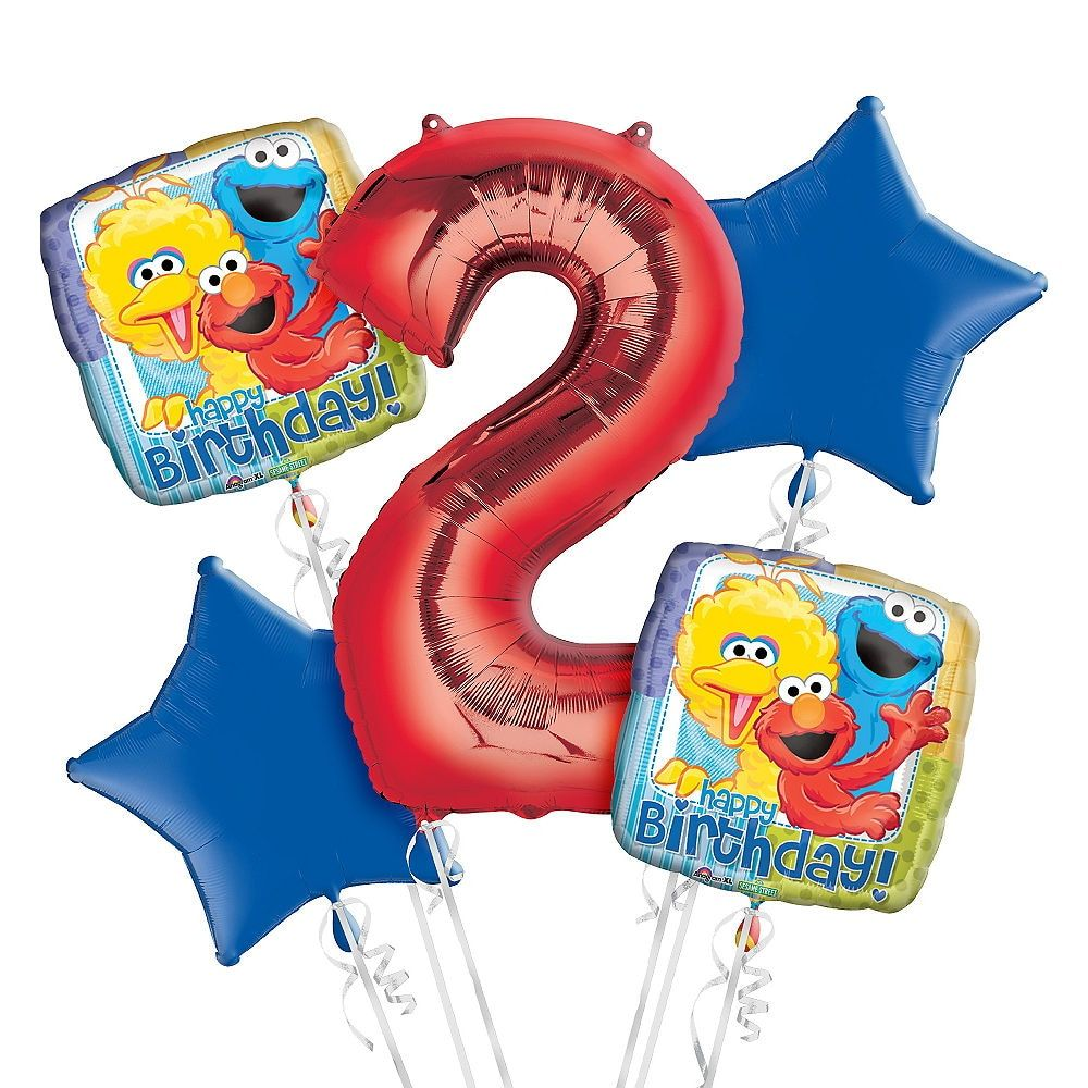Sesame Street 2nd Birthday Balloon Bouquet 5pc Party
