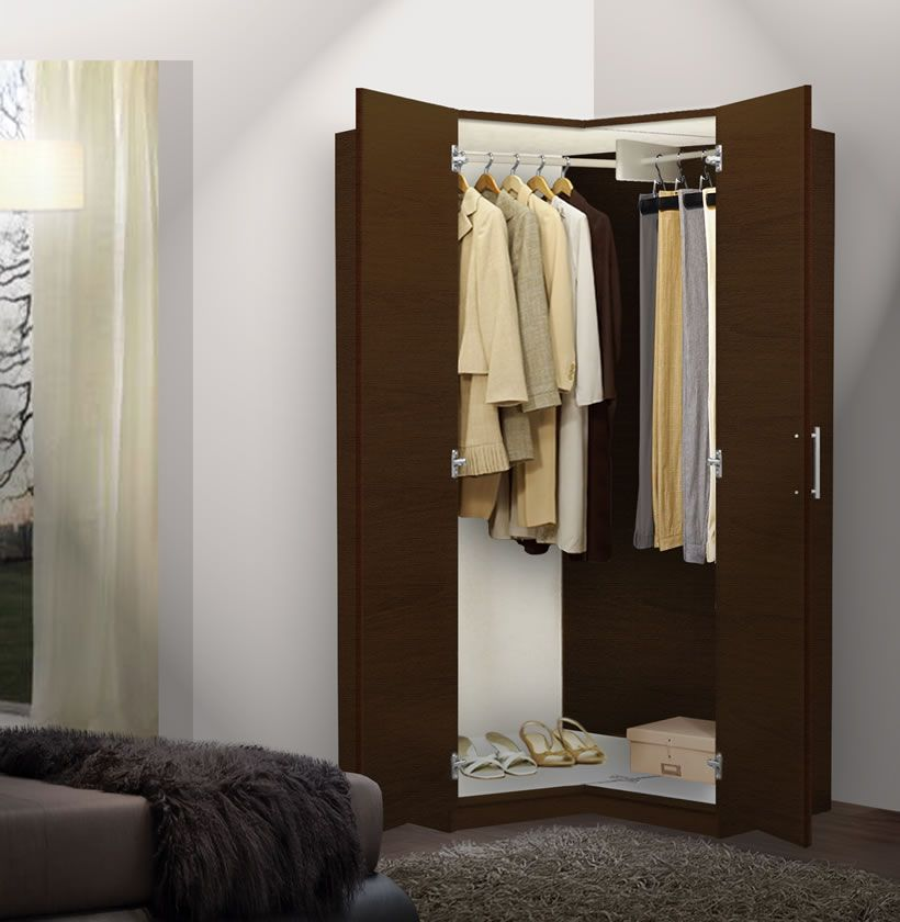 Alta Corner Wardrobe Closet   Free Standing Corner Closet