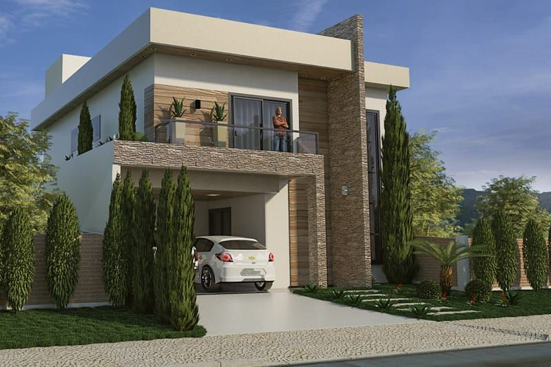Plano de casa con fachada moderna casas pinterest for Casa moderna 9 mirote y blancana