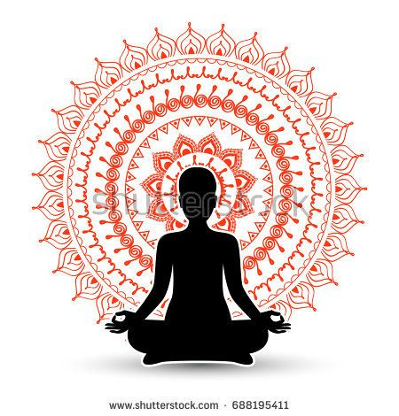 Black Silhouette Of Woman In Meditation Pose Vector Illustration