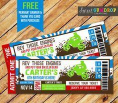 Dirt Bike Ticket Invitation Printable FREE By SweetGumdrop