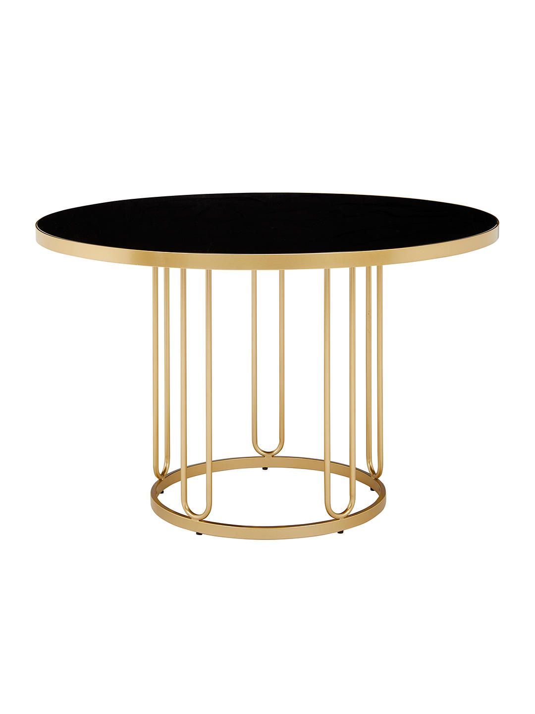 BuyJohn Lewis & Partners Farrugia 4 Seater Glass Top Dining Table, Black/Brass Online at johnlewis.com