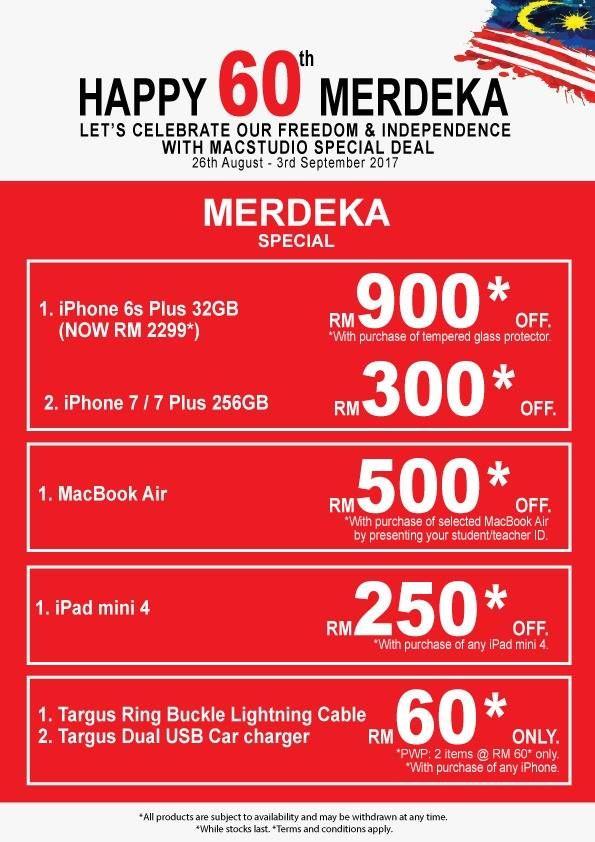 Diskaun Sehingga RM900 Untuk IPhone 6S Plus 32GB Kini RM2299 Bersempena Dengan Hari Kemerdekaan Ke 60 MacStudio Menyediakan Sejumlah Promosi Para