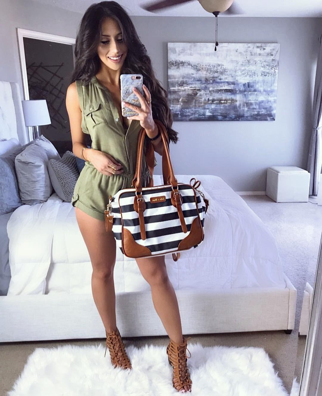 """e43b5b5c7c747 YVETTE GARCIA (@yvetteg23) on Instagram: """"🥑#ootd Romper : @fashionnova use  code xoyvette to save search Naomi romper Diaper bag #romper #outfit ..."""