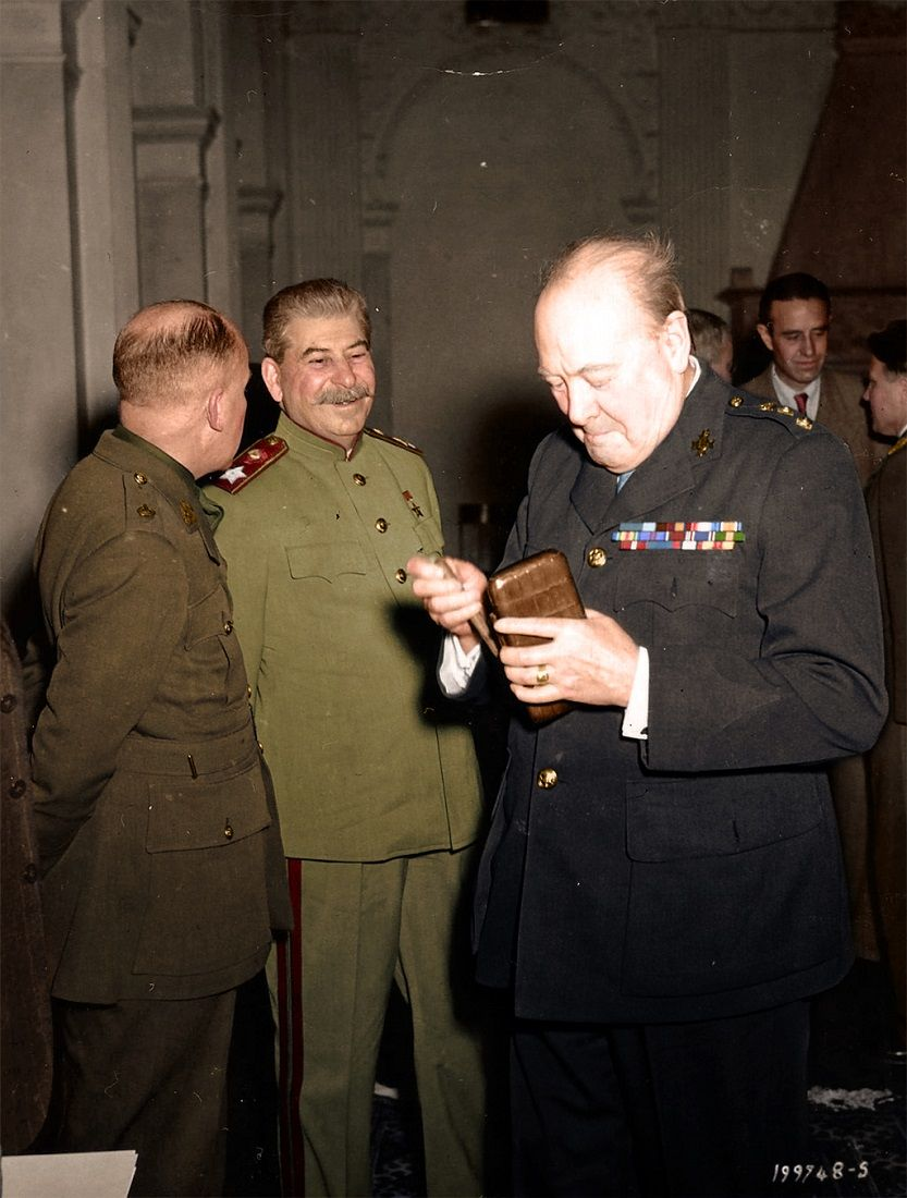Stalin and Churchill in Livadia Palace during the Yalta Conference, February 1945.