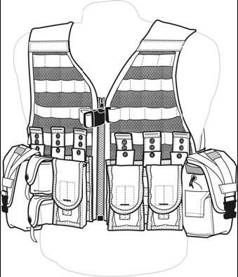 a diagram of a fully loaded army flc (fighting load carrier)  this set up  shows capacity of 12 m4 magazines, two frag pouches, and two  canteen/utility