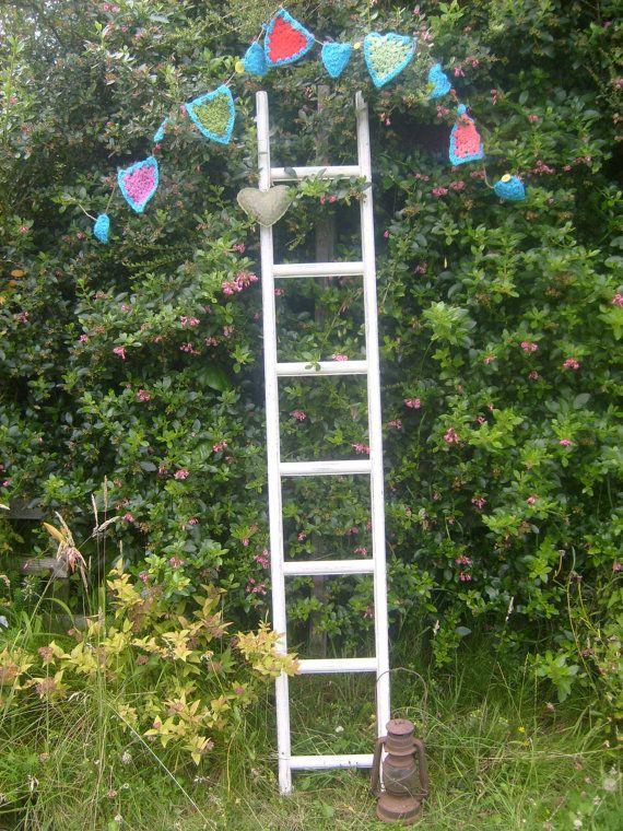 Shabby Chic Vintage Wooden Ladder  by RoseGardenEmporium on Etsy, £24.99