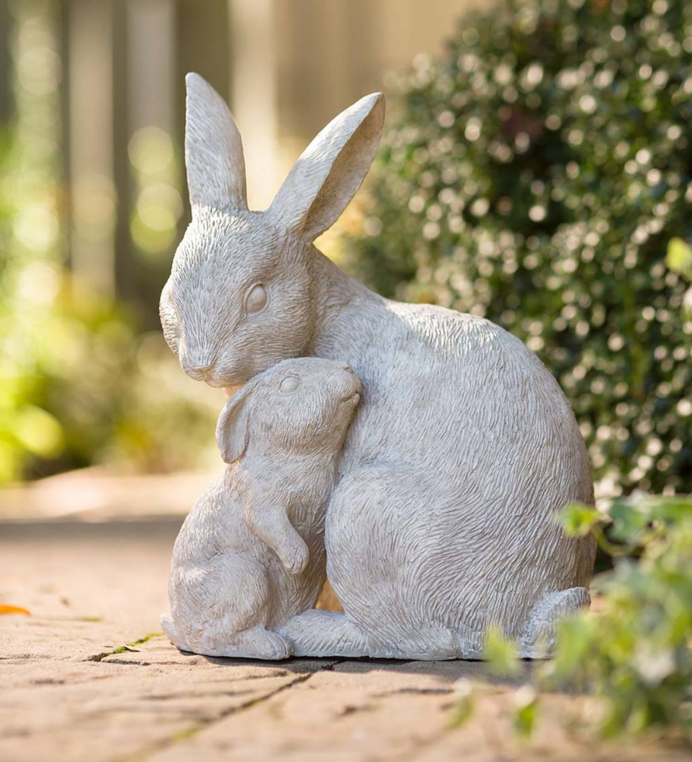 bunny ornament Cute rabbit statue rabbit figurine grey bunny garden statue rabbit bunny sculpture animal statues bunny statue