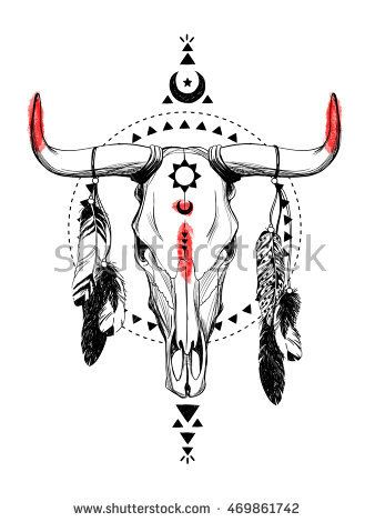 Bull skulls with feathers and ethnic symbols. Native