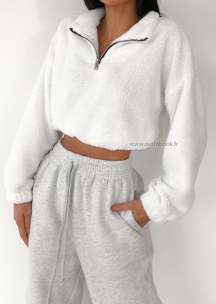 Pullover mit halbem Reißverschluss aus Kunstpelz in Weiß