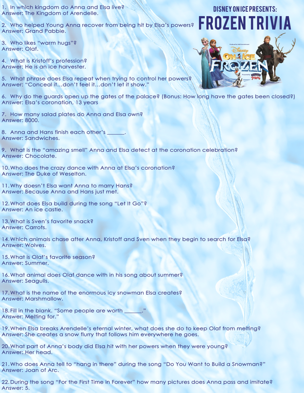 Free FROZEN trivia questions and FROZEN coloring sheet | Pinterest ...