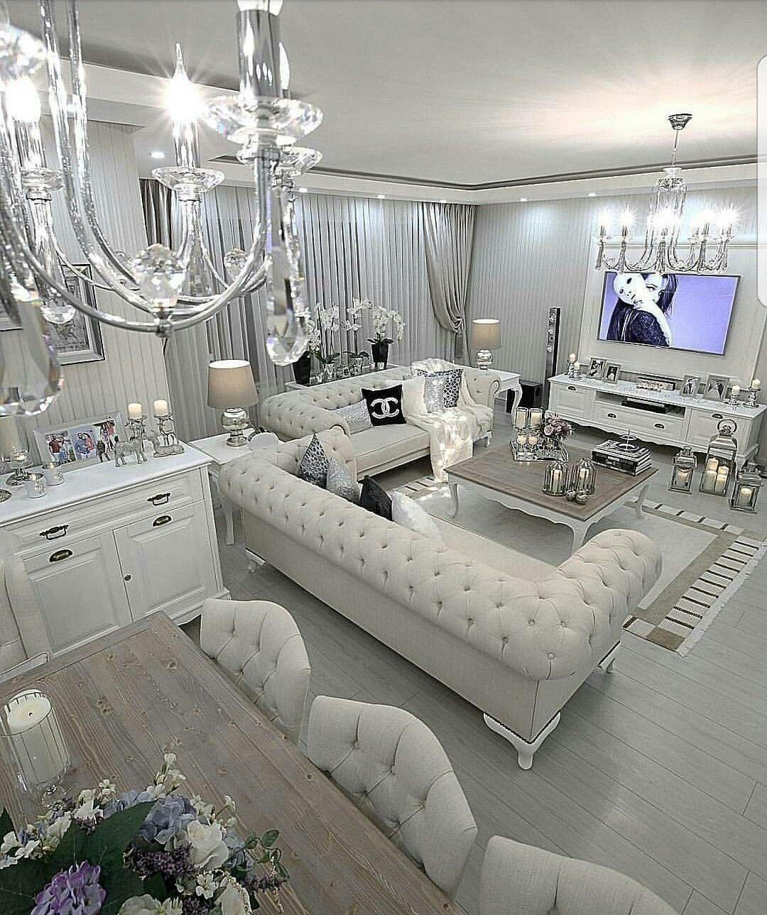 43 Modern Glam Living Room Decorating Ideas Decoratrend Com Ide Dekorasi Rumah Rumah Mewah Ruang Keluarga Mewah