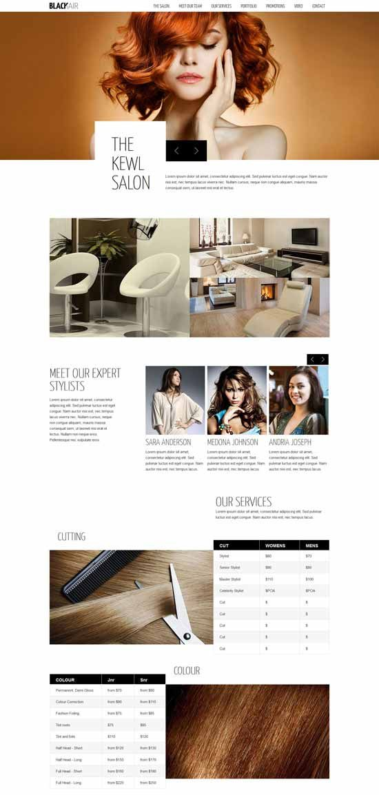 One Page HTML5 Template For Hair Salons