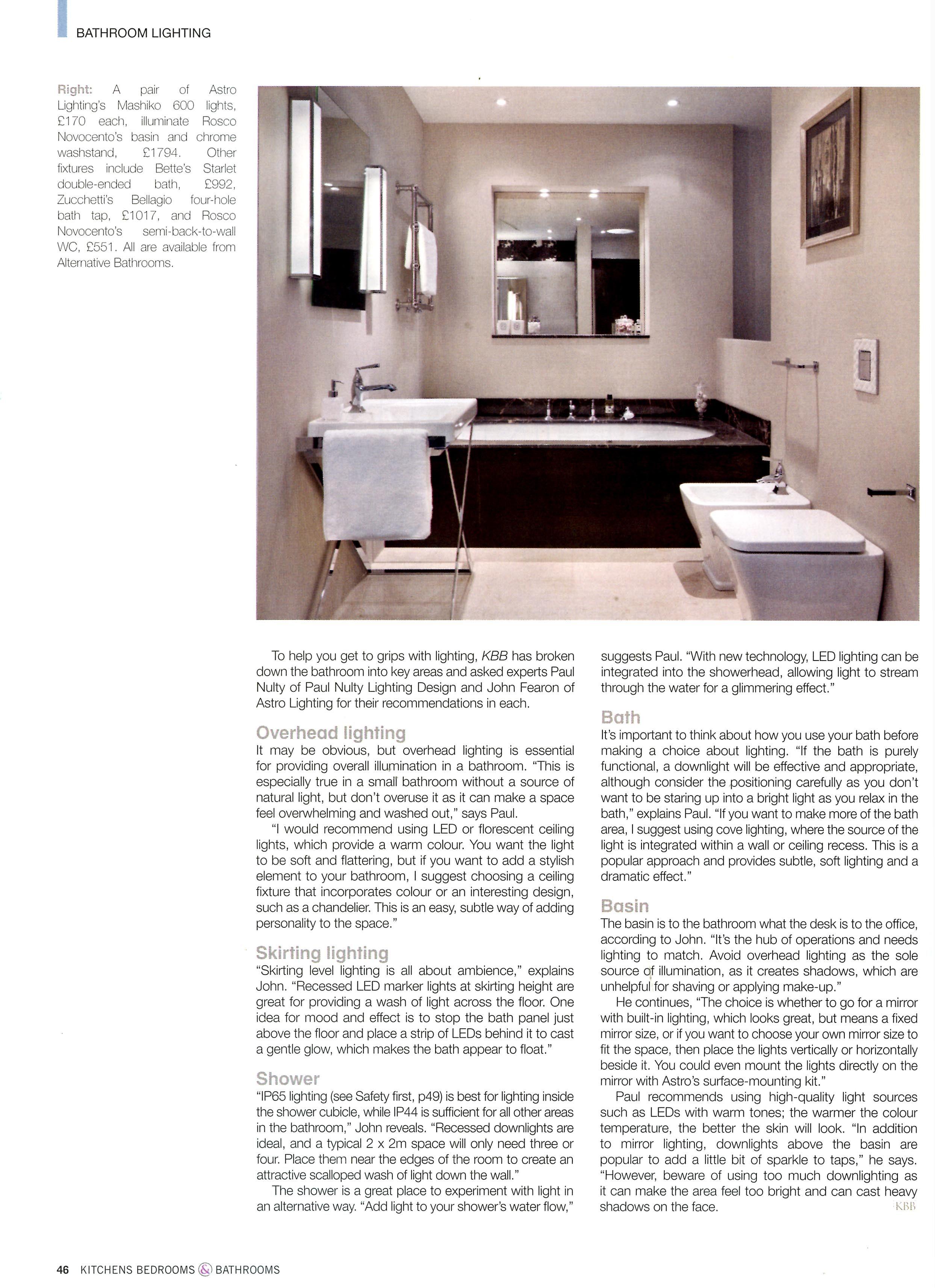 bathroom lighting advice. Bathroom Lighting Advice, Featuring A Pair Of Astro Lighting\u0027s Mashiko 600 Lights, Rosco Novocento\u0027s Advice E