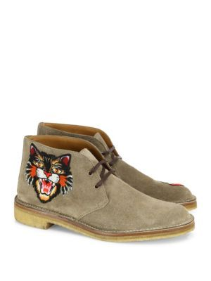 7f368331a GUCCI New Moreau Embroidered Suede Chukka Boots. #gucci #shoes #boots