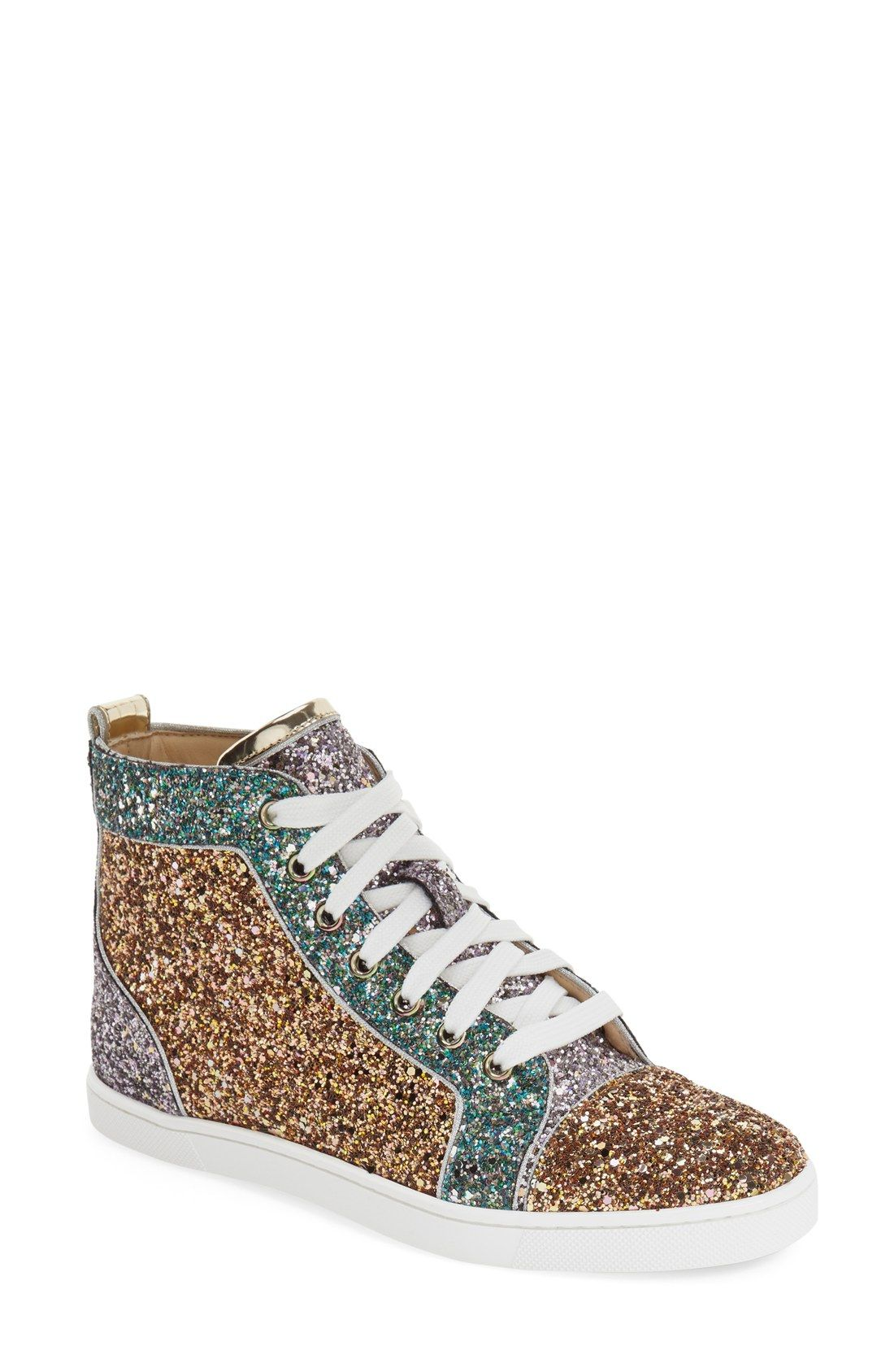 christian louboutin bip bip glitter high top sneakers