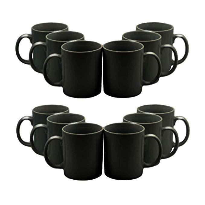Black Straight Sided Tea/Coffee Mugs 285ml (10oz) Set