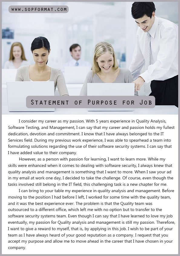 Statement Of Purpose Format For Job  Statement Of Purpose Format