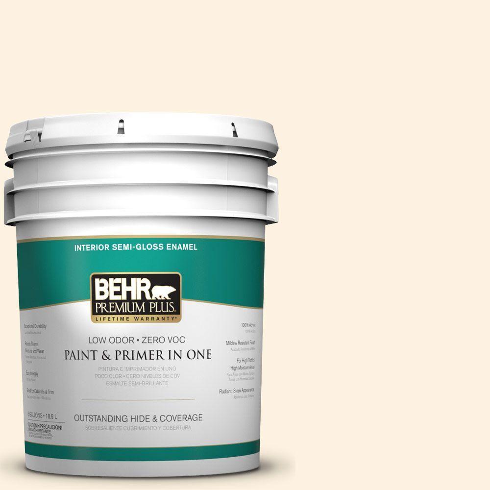 BEHR Premium Plus 5-gal. #M290-1 Thickened Cream Semi-Gloss Enamel Interior Paint