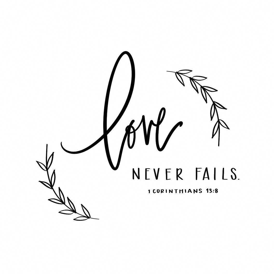 Hand lettered Digital Print - Bible Verse 1 Corinthians 13:8 - Downloadable - Love Never Fails Print - Bridal Shower, Wedding, Home Decor