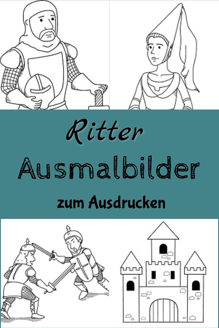 """ausmalbilder zum thema """"ritter burgen  burgfräulein"""" zum"""