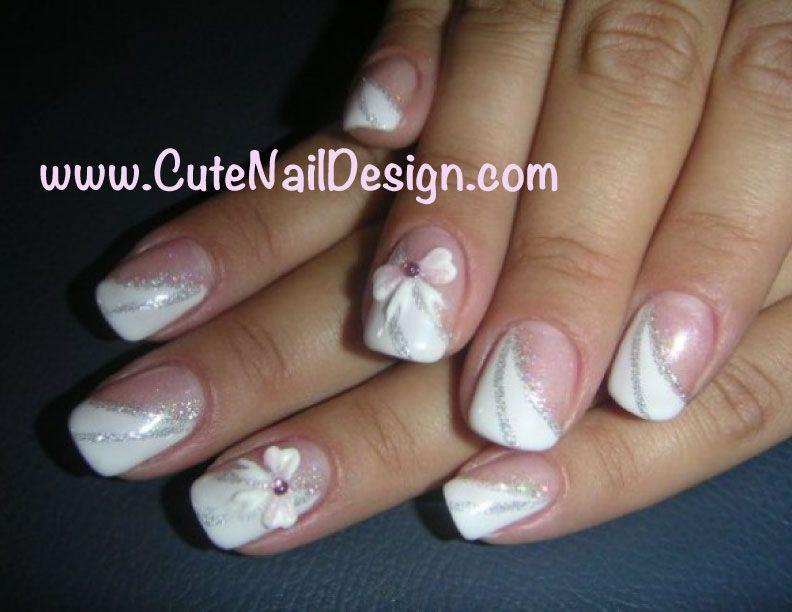 Wedding Nail Design Gel Nails With 3D Ribbons