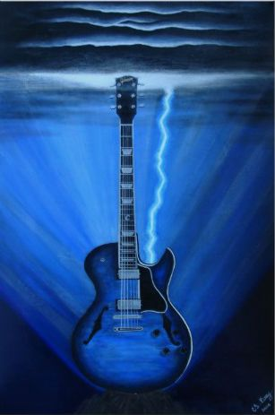Blue guitar poster. Reminds me of Metallica's Ride The Lightning