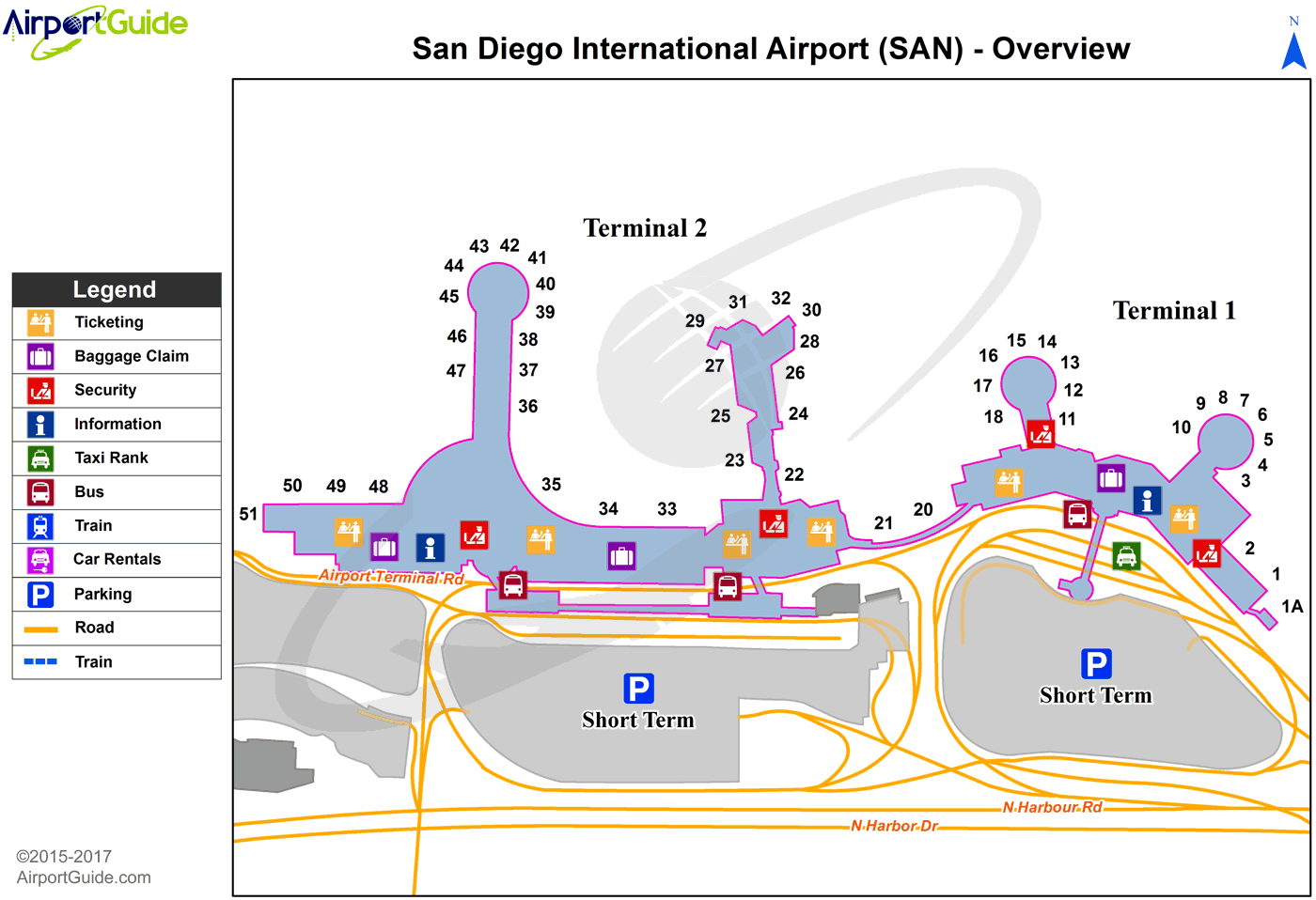 San Diego Airport Terminal Map San Diego   San Diego International (SAN) Airport Terminal Map