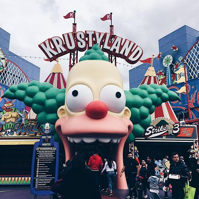 Universal Studios Losangeles Universalstudios Krustyland Thesimpsons Ride Excited Themepark The Simpsons Universal Studios Theme Park