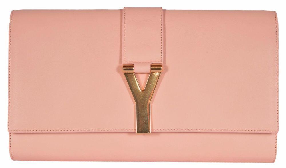 8566ef95629 New Saint Laurent YSL 311213 Blush Peach Leather Ligney Y Logo Clutch  Handbag #YSLYvesSaintLaurent #Clutch
