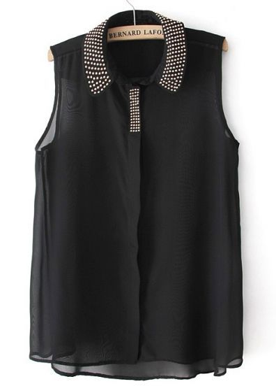 4b2a6d513b293 Black Sleeveless Rivet Lapel Chiffon Blouse pictures  Sheinside