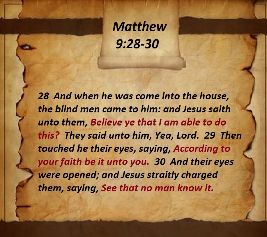 Matthew 9:28-30 | Matthew | Hebrews 10, Revelation 6, 1 john