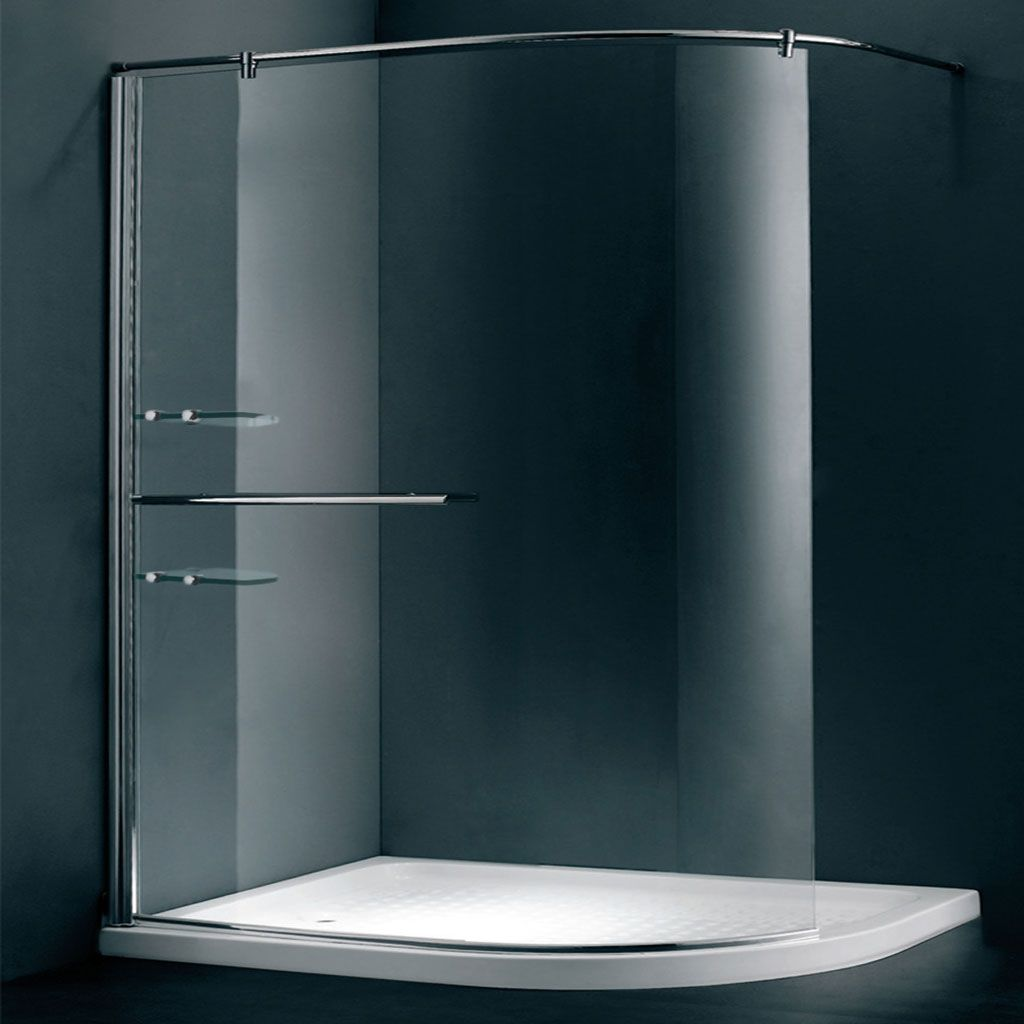 Duchy Style Curved Walk-In Wet Room Glass Shower Enclosure, 1200mm x ...
