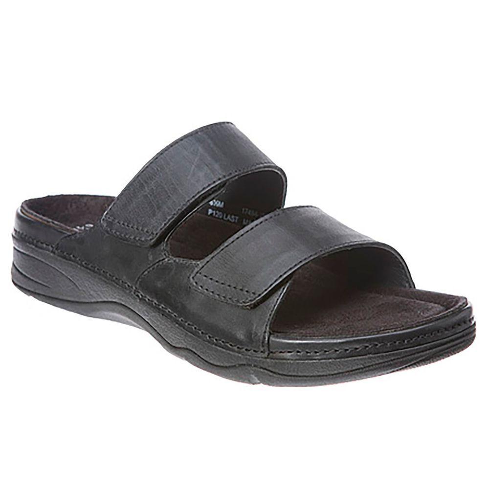 71ba91280 NEW Womens Drew Milan Barefoot Freedom black leather velcro slide 7 5 W   Drew  Slides