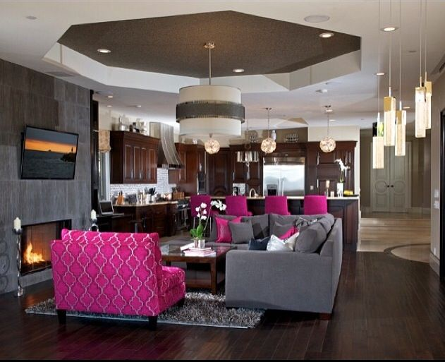 Lovely Gray Living Room With Accents Of Fuchsia.