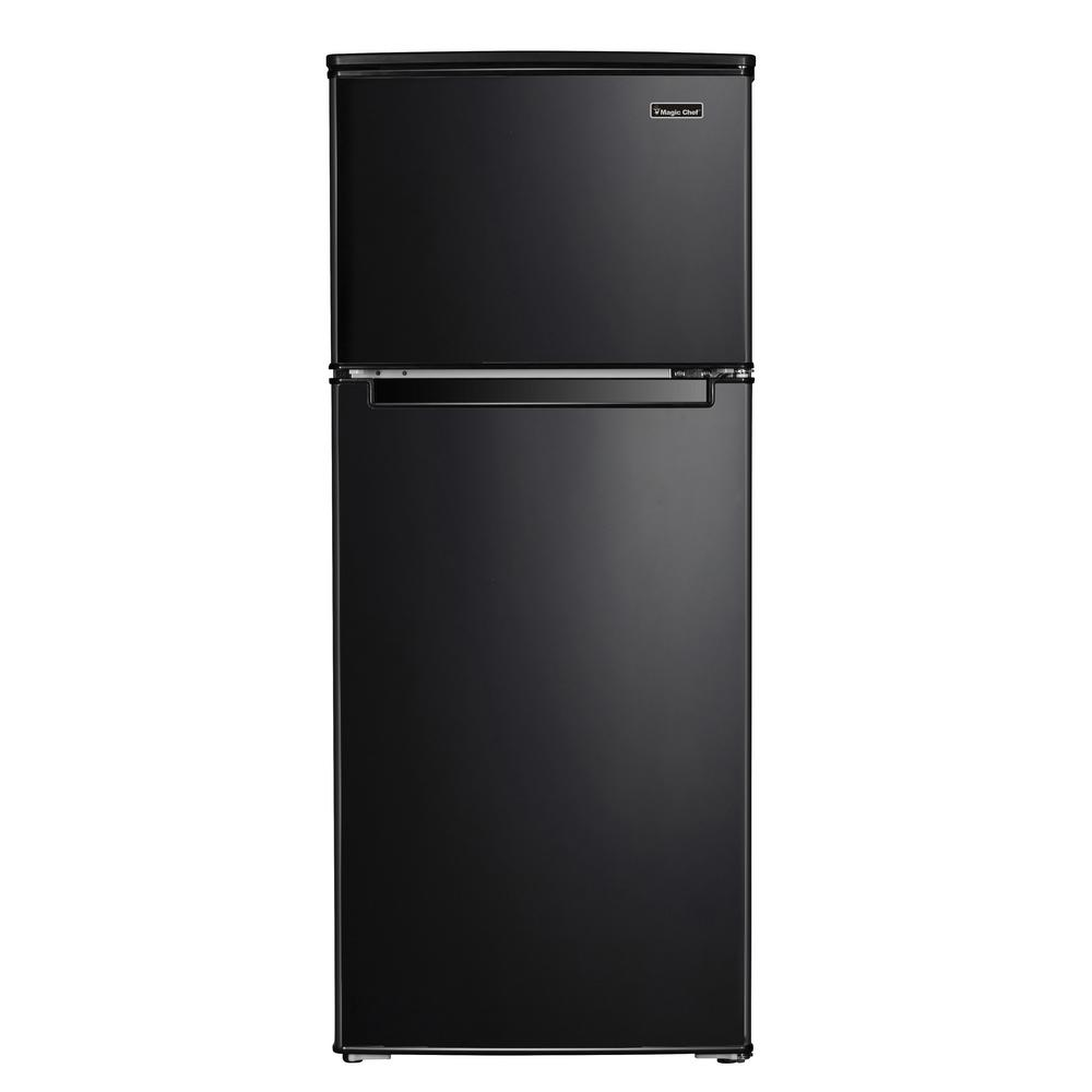 Magic Chef 4 5 Cu Ft 2 Door Mini Fridge In Black With Freezer Hmdr450be The Home Depot In 2020 Magic Chef Mini Fridge Double Doors