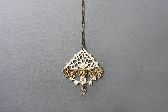 Boho necklace gold painted lace pendant