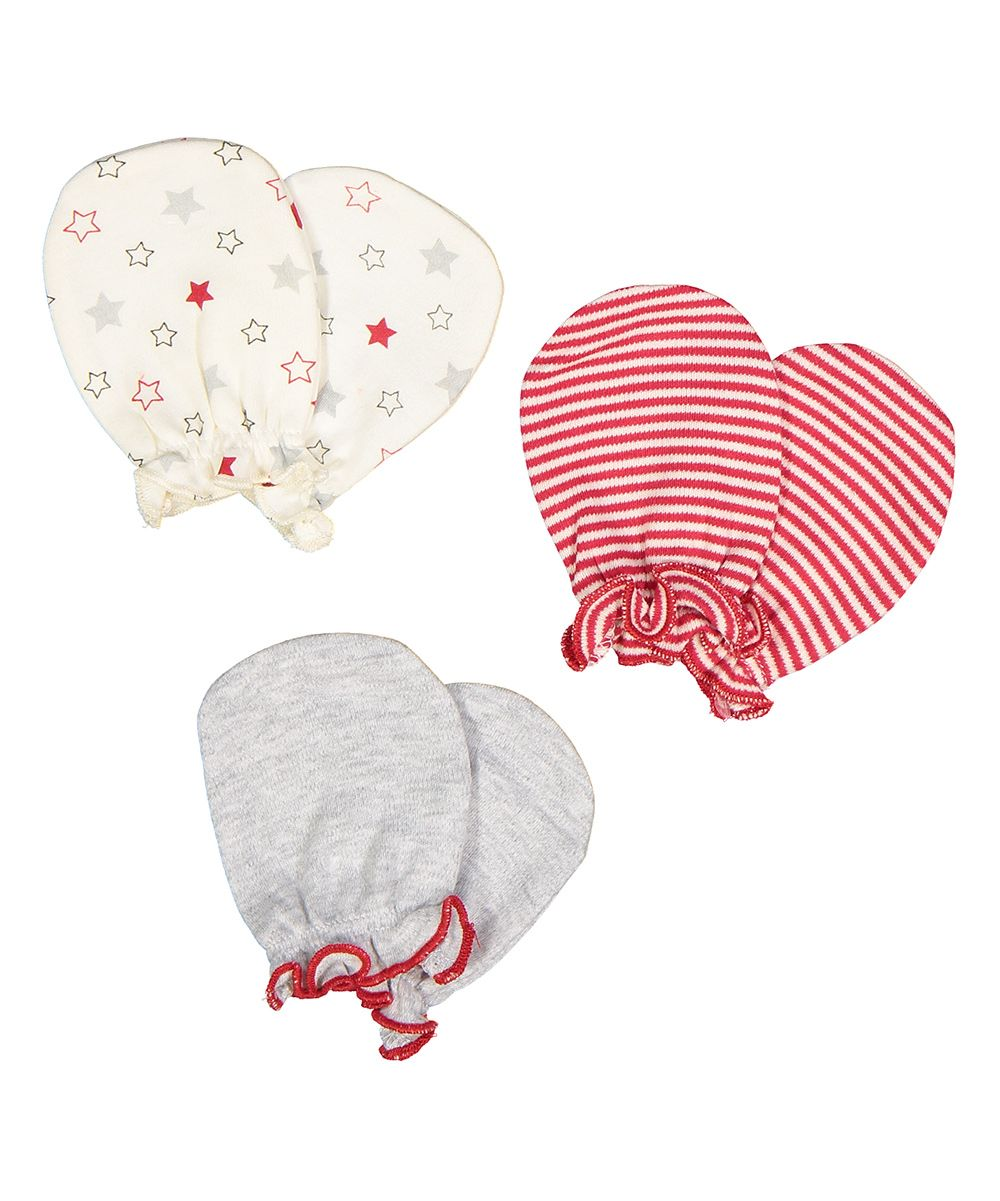 Various Color Infant Hand Mitts - Set of Three