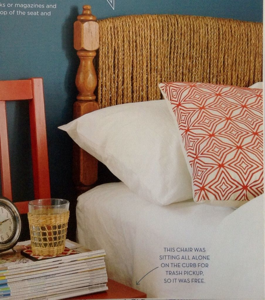 Twine your bed head so changes 'the look'! From 'Young House Love' by Sherry and John Petersik.