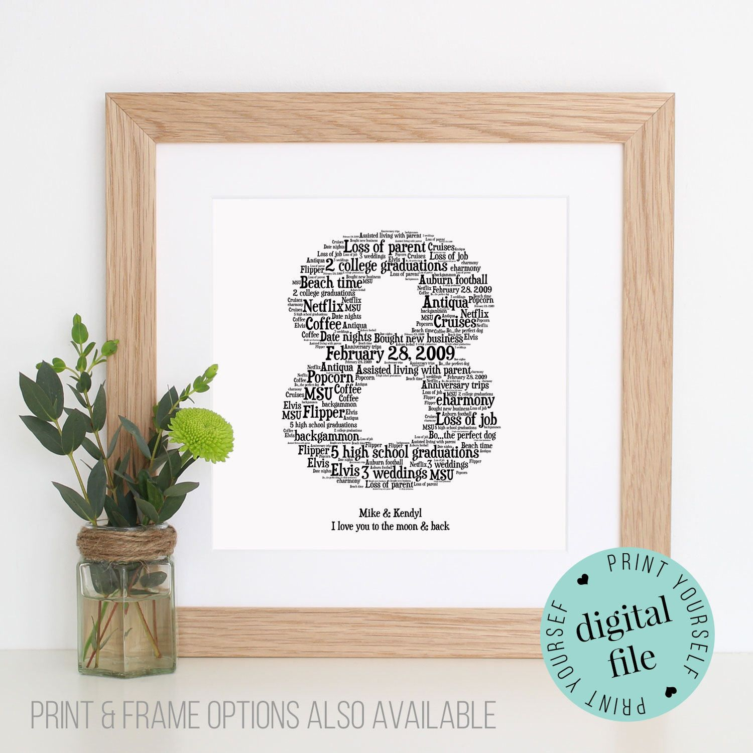 Personalised 8TH ANNIVERSARY GIFT - Word Art - Printable Gift - Gift ...