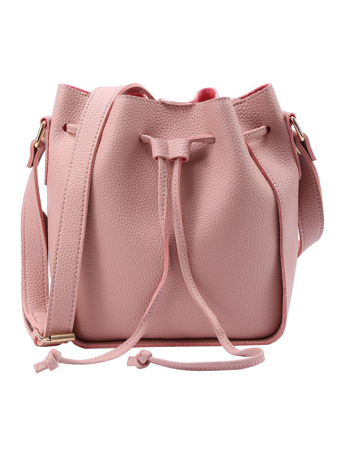 b5c4752456 Embossed Faux Leather Drawstring Bucket Bag - Pink -SheIn(Sheinside ...