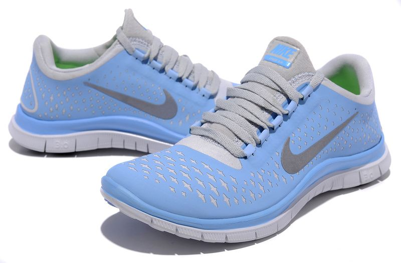 half off 63703 2fc19 Populaire Nike Free 3.0 V4 En Ligne Femme Chaussures De Running Bleu Gris,  EUR €62.09   www.nikepascher.net