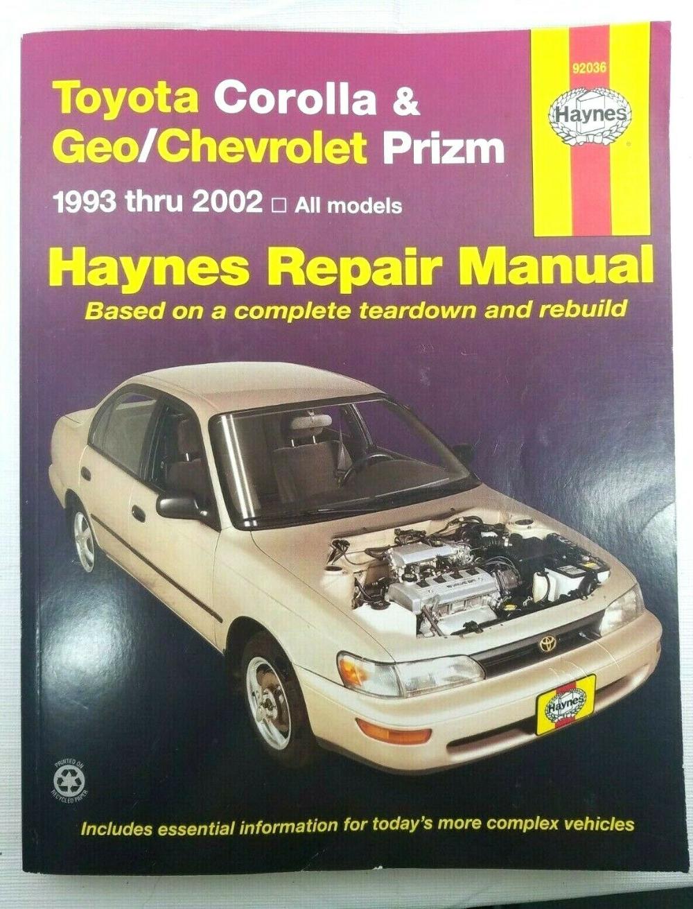 Geo /& Chevrolet Prizm Haynes Repair Manual Toyota Corolla 1993-2002